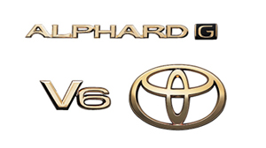 Gold emblem (the Toyota symbol [for rear]) (car name logograph [for rear]) (aerodynamic volume displacement mark [V6])