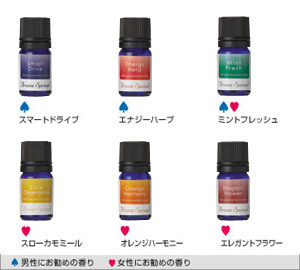 Aroma spread (essential oil [smart drive] [energy herb] [mint fresh] [slow duck meal] [orange harmony] [elegant flower])