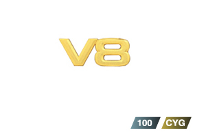Gold emblem (aerodynamic volume displacement mark V8)