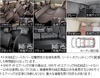 Interior set (botanical Brown) dress rise seat (botanical Brown 1 and 2 line seats) (botanical Brown 3 line seat)/interior curtain (ivory)/tonneau cover (botanical Brown) interior set (botanical black) dress rise seat (botanical black 1 and 2 line seats) (botanical black 3 line seat)/interior curtain (gray)/tonneau cover (botanical black)