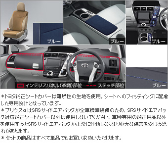 Interior set (type C) (for 3 line seat cars (blue)) Leather pitch seat cover (set item (1,2nd line business blue) (3rd line business blue))/Color DOS itchy panel (blue)/center console lid (blue)/interior panel (set item (blue))(Primer)